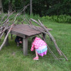 photo of a stick hut