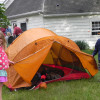 picture of kids and a tent in backyard